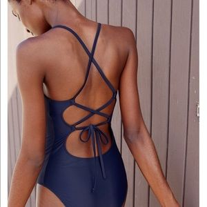 Aerie Navy lace back one piece XL